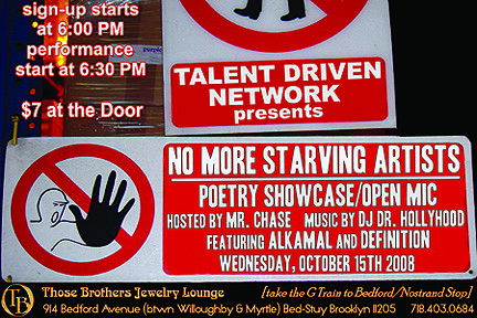 Flyer for 'No More Starving Artists'