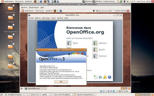 OpenOffice.org 3 : la page d'accueil sous Ubuntu Intrepid Ibex