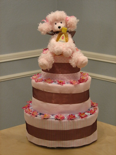 Pink and Brown Three Tier Cake (front)