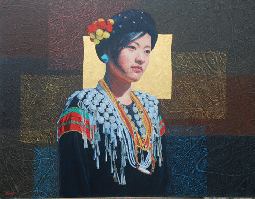 Hill Tribe of Myanmar series 11, by Tin Win, mixed media, 90x120cm