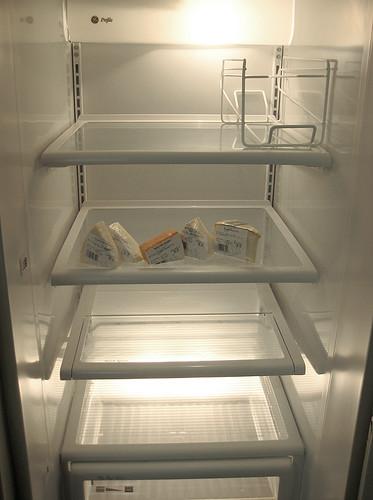 Clean fridge; cheese