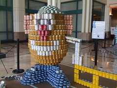 Mr. Potato Head made out of cans