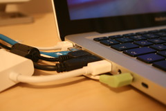 MacBook Connections (William Hook) Tags: desktop apple metal backlight computer notebook construction mac inch aluminum portable shiny technology tech display box laptop mini os x led glossy usb precision late workstation 13 2008 ethernet tuaw  ilife iwork unboxing 60w macbook magsafe unbox unibody displayport