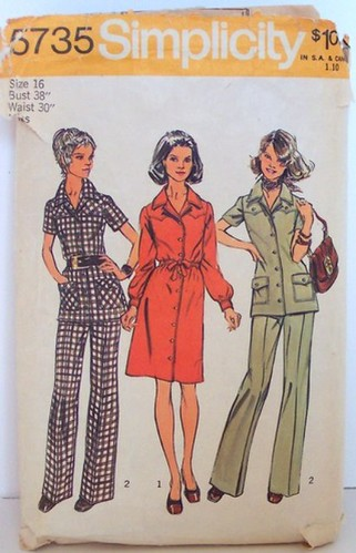 Vintage Simplicity Pattern 5735 Mod 70s Pant Suit Tunic Shirtdress Dress