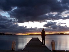 Looking Out (pominoz) Tags: sunset lake water girl silhouette clouds newcastle pier model nsw thumbsup lakemacquarie twothumbsup warnersbay thumbsupwrestling tuw121