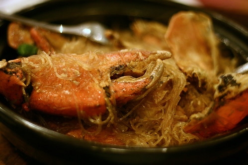 ban pho with steamed crabs