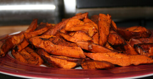 Baked Sweet Potato and Chile Wedges