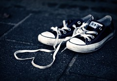 You come to love not by finding the perfect person, (Little Thoughts) Tags: bw black love shoes all heart chucks starts laces