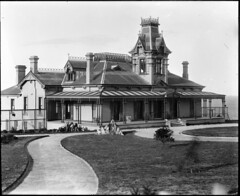 Newly built large house, Federation style (Powerhouse Museum Collection) Tags: ocean sea house tower rock architecture path gingerbread veranda pacificocean porch victoriana column mansion verandah chimneys maroubra sthelena lanai powerhousemuseum oceanfront dormers ironlace seyfang widowswalk lurlinebay johnnorton xmlns:dc=httppurlorgdcelements11 dc:identifier=httpwwwpowerhousemuseumcomcollectiondatabaseirn385713 sthelenaestate