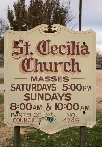 Saint Cecilia Roman Catholic Church, in Bartelso, Illinois, USA - sign