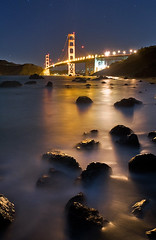 Bridge on the Rocks (ec808x) Tags: sanfrancisco nightphotography mist seascape beach night landscape movement nikon rocks waves nightshot wideangle goldengatebridge bayarea kqed d300 marshallbeach tamron1024mm