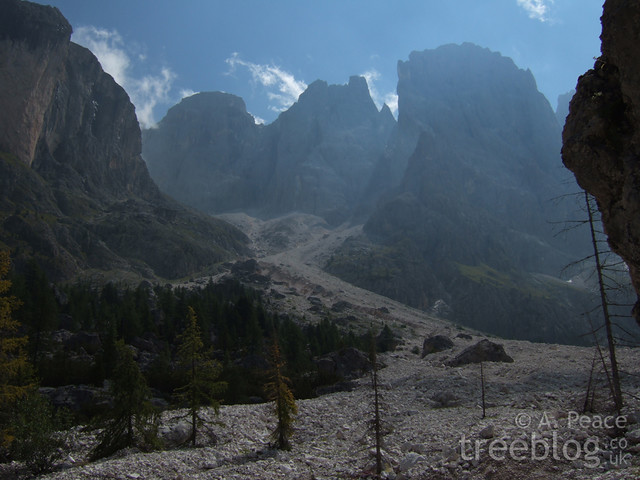 rockslide in the Dolomites