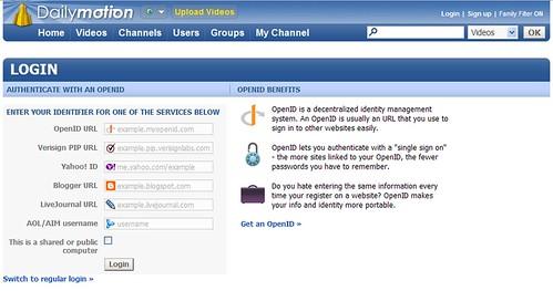 dailymotion openid login screenshot