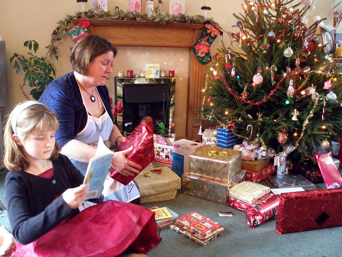 Gemma and Hannah opening presents