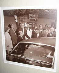 A framed photo of President Nixon leaving El Adobe restaurant. (02/15/2009)