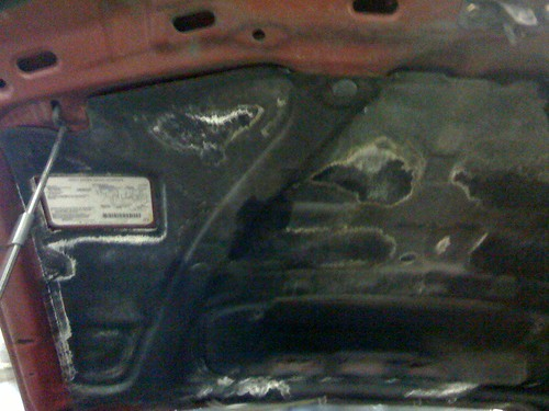 Battery acid all over the hood liner part II