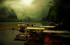 Mystical Guilin (Su Inc) Tags: china travel light mist mountain water fog river landscape photography yulong boat scenery mood moody guilin dramatic bamboo limestone raft canopy karst region lijiang zhuang guangxi autonomous