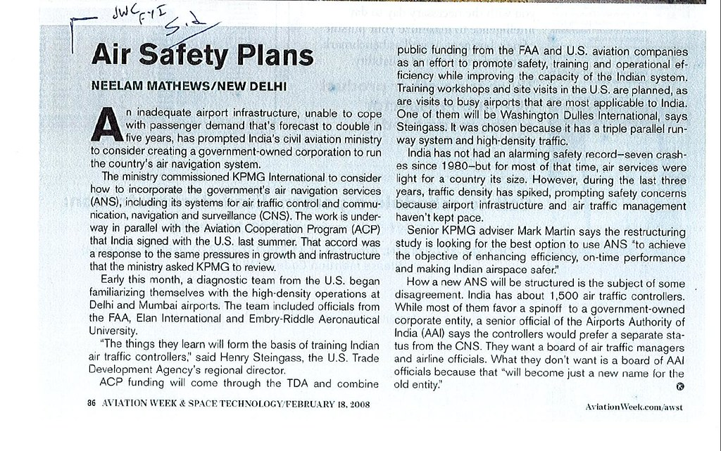 Air Safety in India | Aviation Week & Space Technology, *Enlarge to Read*