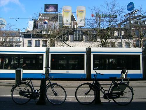 Heineken + tram + bikes = Amsterdam