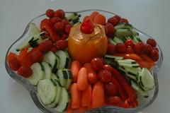Vegetable tray (imsovegan) Tags: food vegan tomatoes vegetable tray peppers platter hummus cucumbers