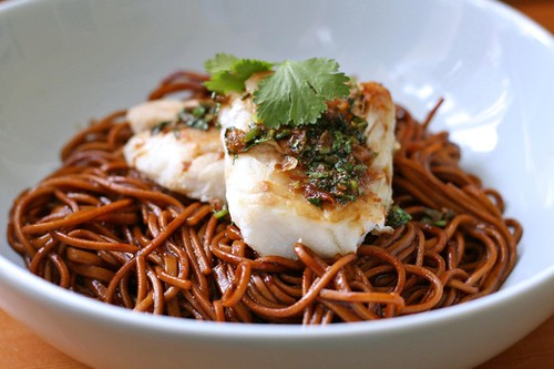 Cod with lime and coriander soy on yakisoba