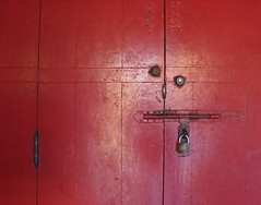 Red smiling door