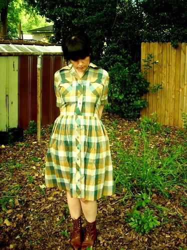 vintage plaid farm dress