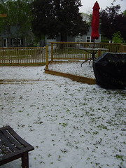 Hail Stones Covering the Unfinished Deck