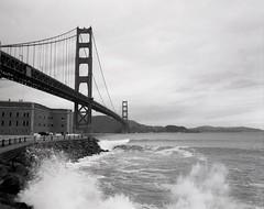 Storm Waves at Golden Gate Bridge #2 (wanderingYew2 (thanks for 5M+ views!)) Tags: sanfrancisco california bridge storm mamiya film mediumformat waves goldengatebridge fortpoint presidio us101 filmscan winterstorm pacificcoasthighway californiahighway1 ca1 mamiya7ii nationalscenicbyway allamericanroad unitedstateshighway101