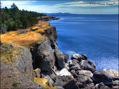 Aggregate Cliffs of Hornby Island (ecstaticist) Tags: blue sky cliff cloud canada tree water grass rock stone pine island golden wave boulder casio dirt pebble hornby aggregate exf1