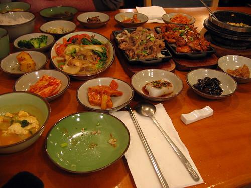 Bulgogi, barbecue chicken, jap chae and kim chi tofu soup