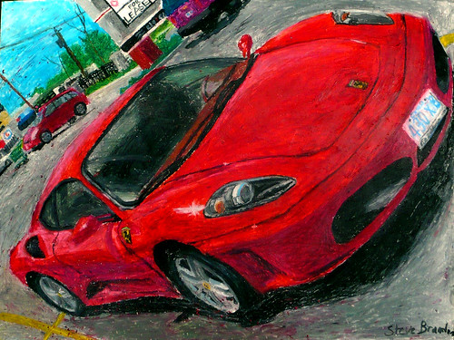 An oil pastel drawing of a Ferrari F430.