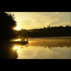 Sunday Sunrise poetry... (NaPix -- (Time out)) Tags: morning sun mist lake water sunrise reflections landscape golden glow sunday ngc explore chapeau lakescape justimagine visiongroup imagepoetryimagepoésie sunrisepoetry napix atqueartificia witheachsunrisewestartanew rashomon羅生門