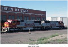BNSF 8202 & 8250 (Robert W. Thomson) Tags: railroad santafe train montana diesel greatfalls railway trains locomotive trainengine bnsf emd warbonnet burlingtonnorthernsantafe sixaxle sd75m sd75