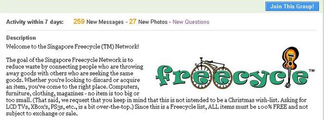 Freecycle Singapore group on Yahoo