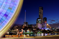 Wheel and Skyline, Melbourne (stephenk1977) Tags: park sky reflection wheel night reflections river giant mar duck big twilight nikon tripod australia melbourne ferris victoria southbank yarra vic bluehour birrarung d60 skywheel lptwilight