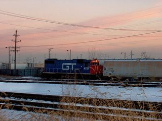 Former Grand Trunk western locomotive spotting cars on an industrial siding. Chicago Illinois. Febuary 2007.