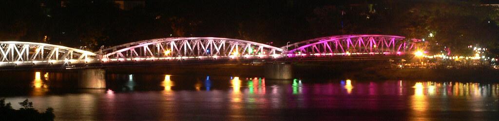 Bridge over the Perfumed River at night, Hue