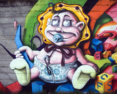 character (mrzero) Tags: streetart detail eye art colors face lines wall effects graffiti 3d paint hungary child character tag eger letters style spray human styles colored graff cfs hepi mrzero bki