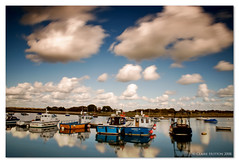 (Claire Hutton) Tags: longexposure blue england sky bw sun water clouds boats harbour south smooth sunny hampshire quay southern keyhaven ndfilter hants 10stop nd1000 nd110 bw110