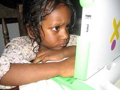 Sneha (age 2) plays with the OLPC one-laptop-p...