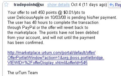 urTurn Scam - E-mail screenshot 1