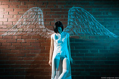 Photo5 - Crayon: Aspiring Angel (neilcreek) Tags: light white brick wall angel costume wings alley sad cosplay flash bricks annie crayon photo5 strobist