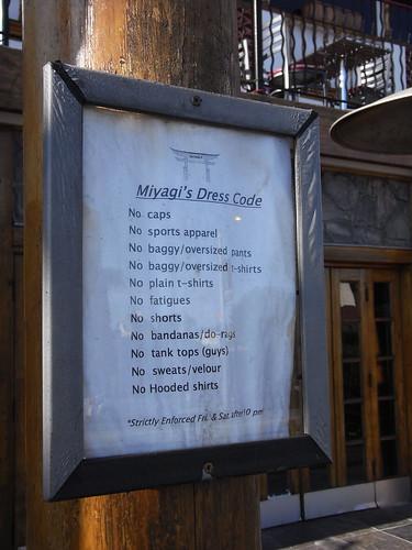 Miyagi's Dress Code