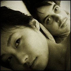 Couple daily life (Nicolas Harter) Tags: china bw selfportrait square couple pinky r1 inbed noise nanjing jiangsu bingqing nicoinchina nicolasharter