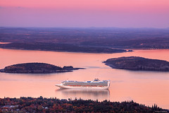 Cruise Ship in Bar Harbor, Maine (Greg from Maine) Tags: barharbor barharbormaine acadianationalpark harbor maine acadia boats coast newengland mainephoto calendar calendarshot calendarphoto ocean water sky reflections color awesome spectacular beautiful morning sunrise cruise cruiseship princesscruise princesscruiselines grandprincess pink mauve islands grandprincesscruise photo canon70200f28l colourlicious