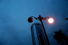 One eyed streetlight (Michael Hendrickx) Tags: street plaza blue light indonesia jakarta mandiri