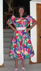 Carol Anderson Print Dress (Deedee Fullskirt) Tags: highheels slip crossdresser petticoat fullskirt