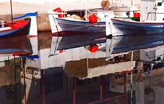 Fishing boats and reflection (Marite2007) Tags: red sea white reflection water composition docks boats mirror islands harbor fishing marine image harbour outdoor picture hellas greece reflected reflect maritime crete mooring picturesque reflexions stillness moored