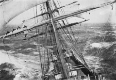 Ship Garthsnaid, ca 1920s (National Library NZ on The Commons) Tags: ocean 1920s sea storm danger wooden meer waves sailing ship sails sheets mast sailor tallship masts schiff peril wellen furl spars reefing squarerigged    nationallibrarynz garthsnaid rollingandpitching commons:event=commonground2009